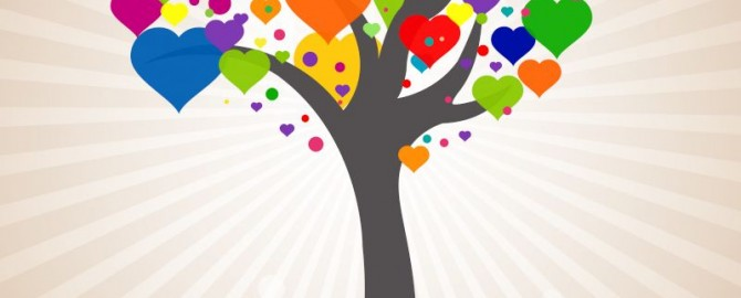 Tree with colorful, heart-shaped leaves